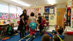 Performing for the kindergarteners.