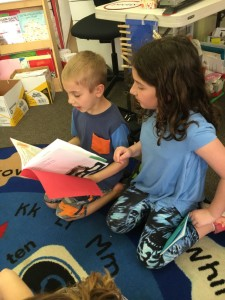 Sharing our stories with the kindergarteners.