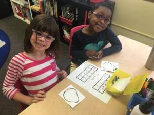 Building numbers from number words on tens frames and picture cards from our object boxes.