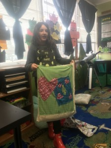 Sophie sharing her sewing project showing our book theme.