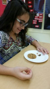 Archaeologist digging for valuable chocolate chip artifacts