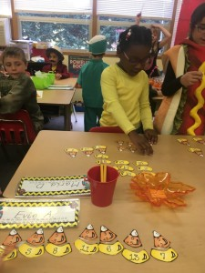Candy corn addition and subtraction match up.